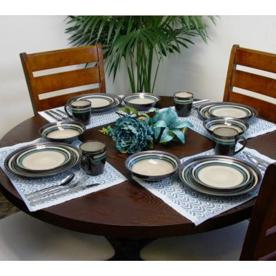 Lewisville 16-Piece Casual Teal Stoneware Dinnerware Set (Service for 4)
