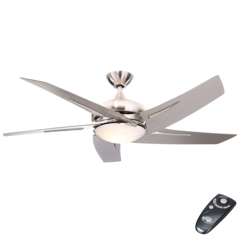 Hampton bay sidewinder 54 in indoor brushed nickel ceiling fan with indoor brushed nickel ceiling fan with light kit and remote control 34889 the home depot audiocablefo