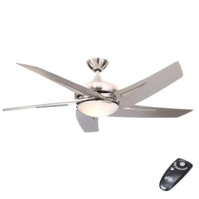 Sidewinder 54 in. Indoor Brushed Nickel Ceiling Fan with Light Kit and Remote Control