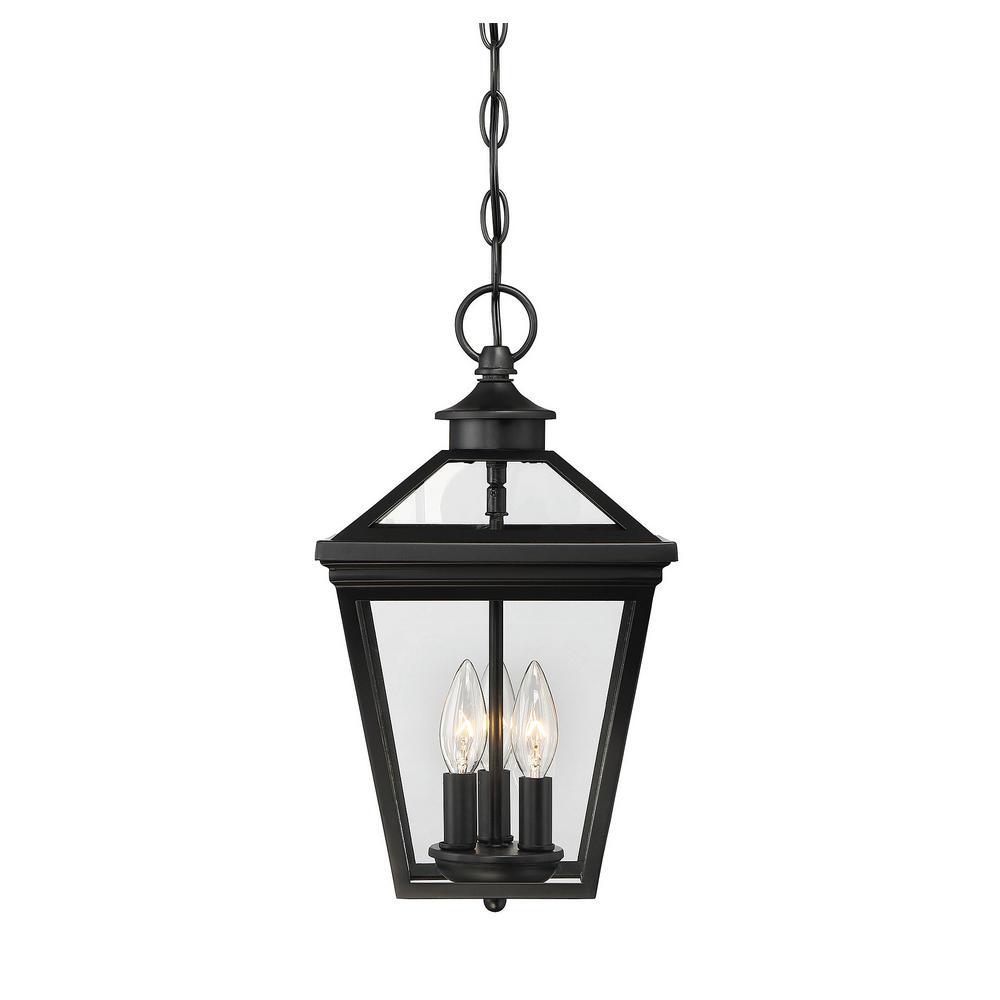 3-Light Black Outdoor Hanging Lantern