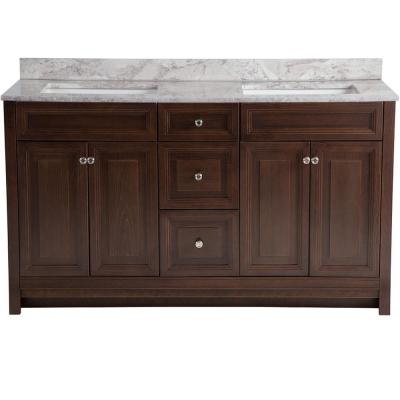 Brinkhill 61 in. W x 22 in. D Bathroom Vanity in Cognac with Stone Effects Vanity Top in Winter Mist with White Sink