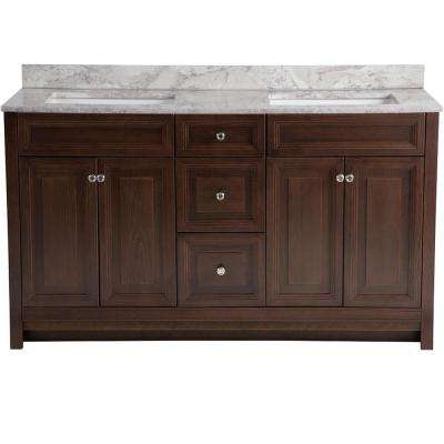 Brinkhill 61 in. W x 22 in. D Vanity in Cognac with Stone Effects Vanity Top in Winter Mist with White Basin