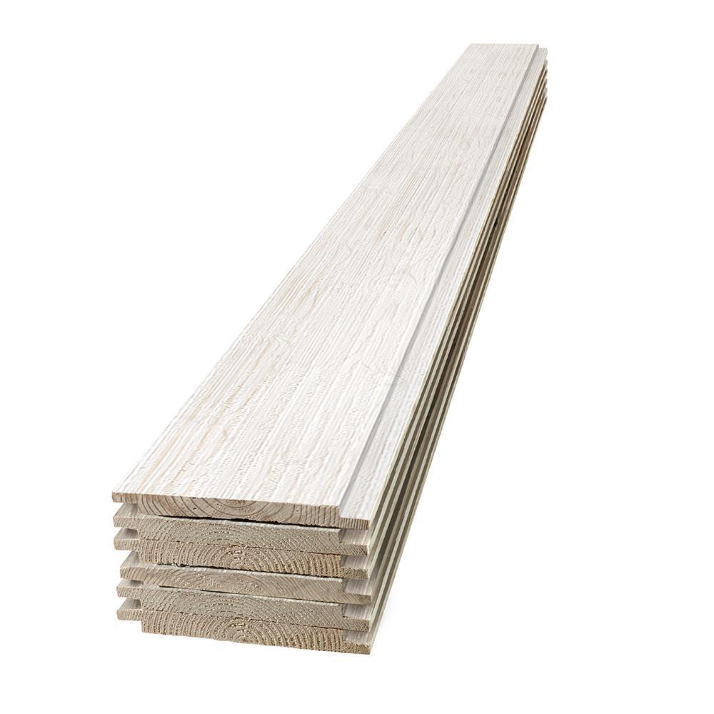 UFP-Edge 1 in. x 8 in. x 6 ft. Barn Wood White Shiplap Pine Board (6-Pack)