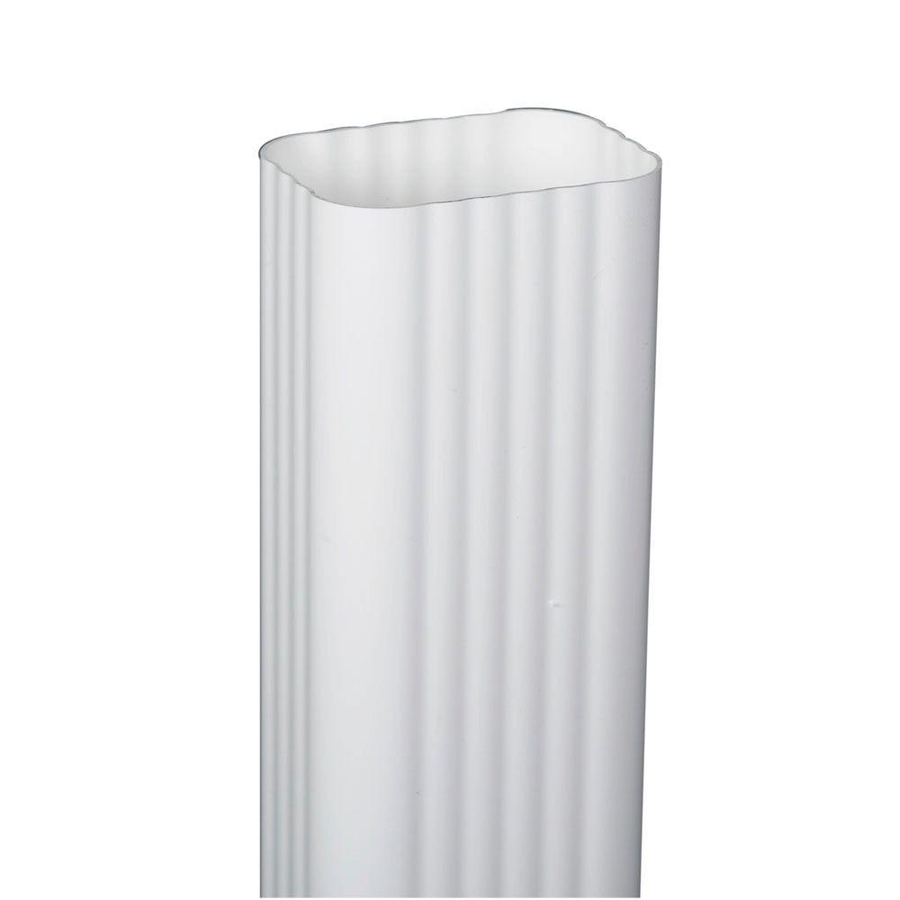 2 in. x 3 in. x 120 in. White Vinyl Downspout