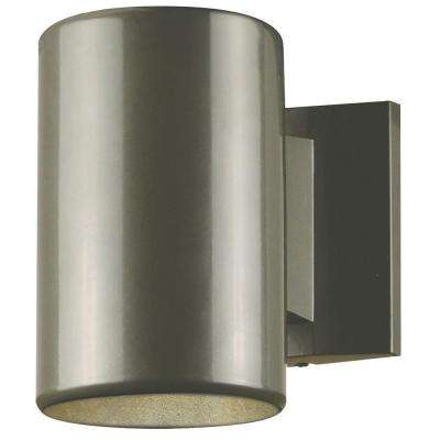 1-Light Polished Graphite on Steel Cylinder Outdoor Wall Fixture