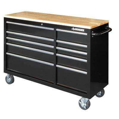 52 in. 10-Drawer Mobile Workbench with Solid Wood Top, Black