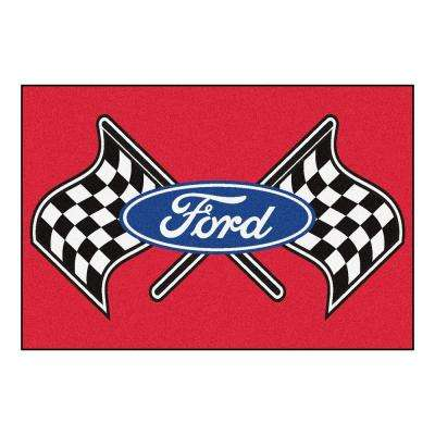 Ford - Flags Red 8 ft. x 5 ft. Indoor Rectangle Area Rug