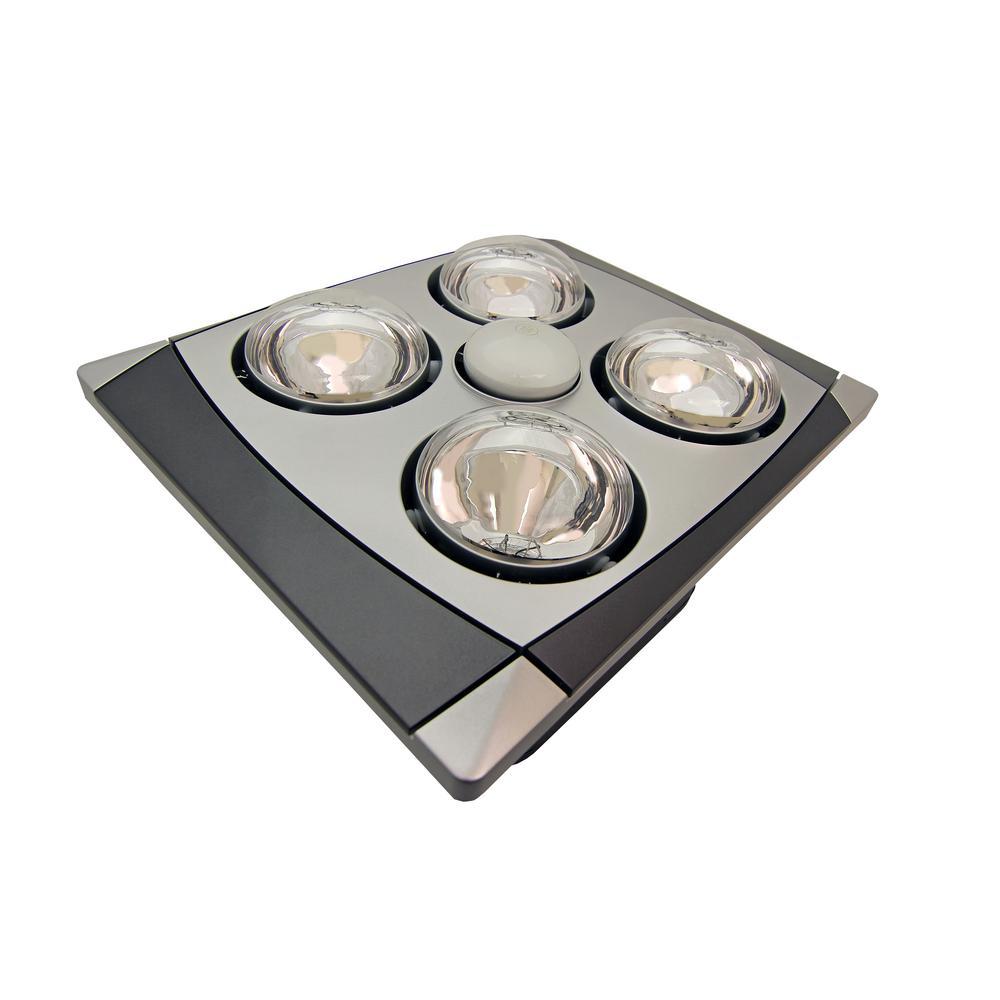4bulb 90 cfm ceiling bathroom exhaust fan with light and 4 270watt infrared heat bulbs matte chrome grill