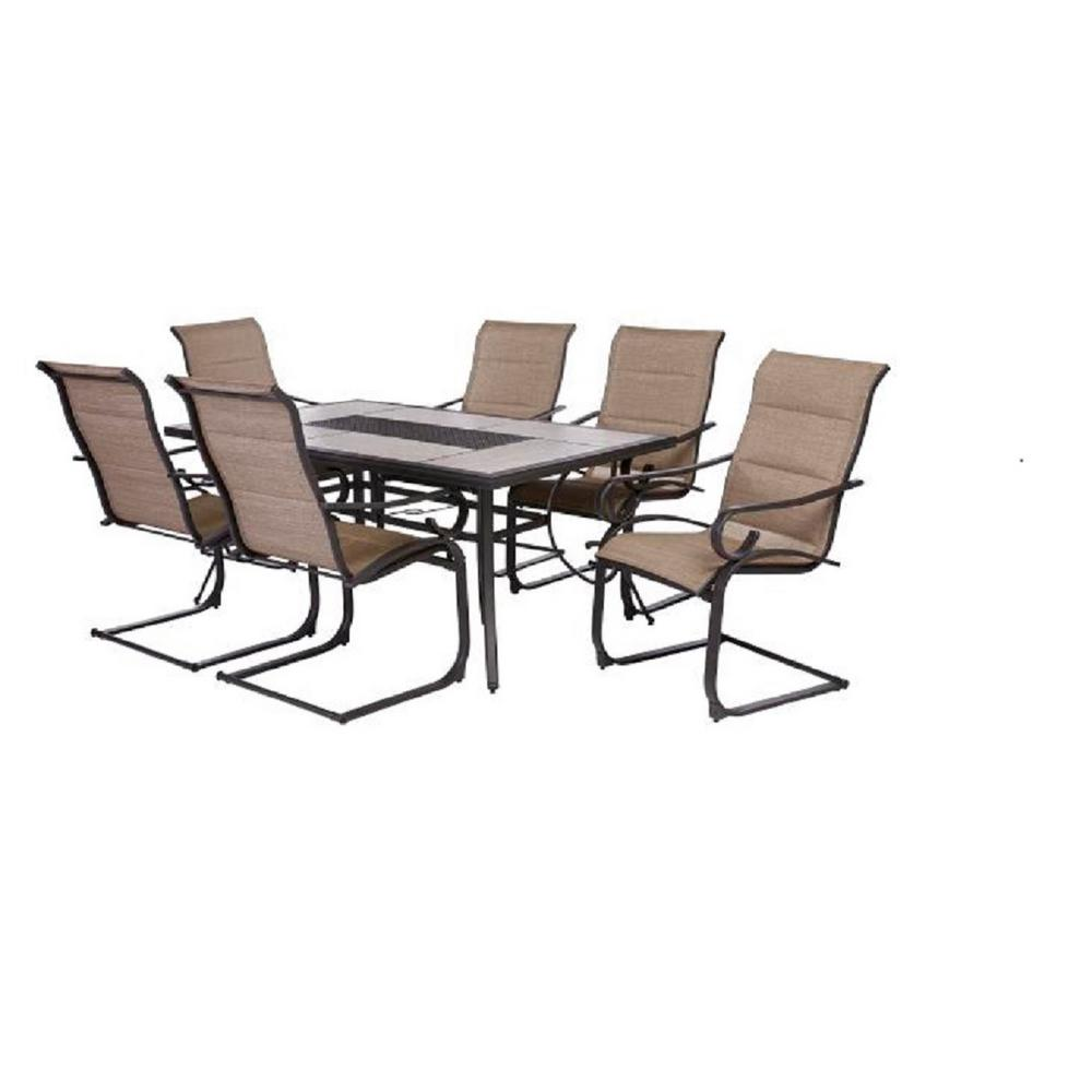 Hampton Bay Crestridge 7-Piece Padded Sling Outdoor Dining Set in Putty