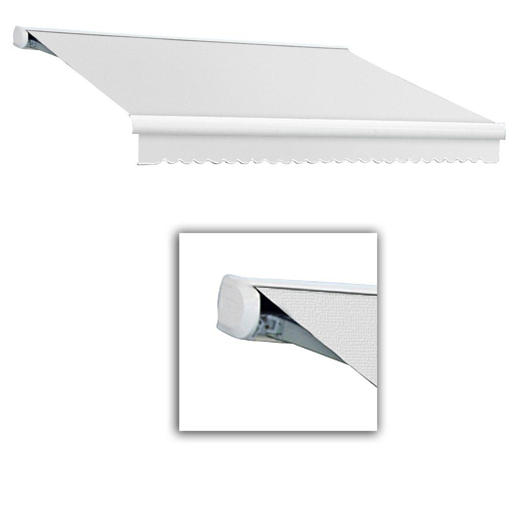 null 14 ft. Key West Left Motorized Retractable Acrylic Fabric Awning (120 in. Projection) in Off-White