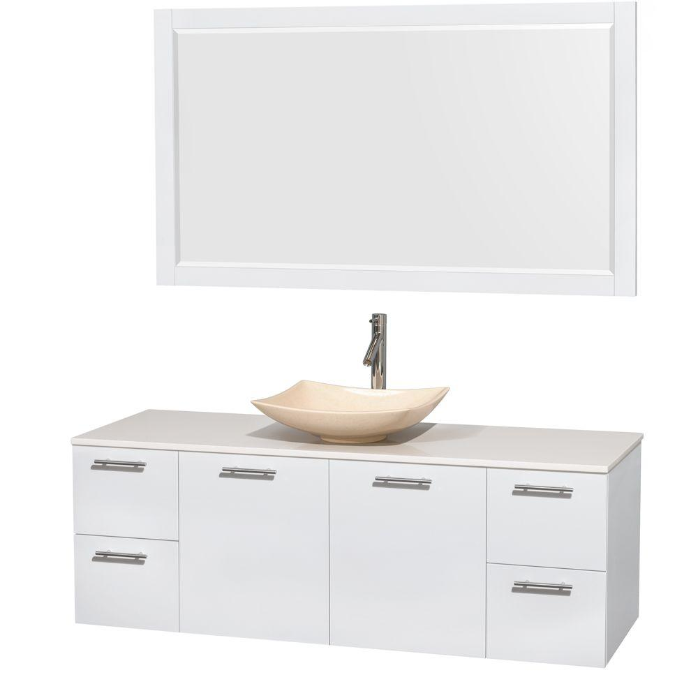 Wyndham Collection Amare 60 in. Vanity in Glossy White with Solid-Surface Vanity Top in White, Marble Sink and 58 in. Mirror