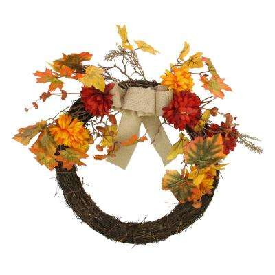 20 in. Unlit Autumn Harvest Artificial Mixed Fall Leaf and Mum Flower Thanksgiving Twig Wreath