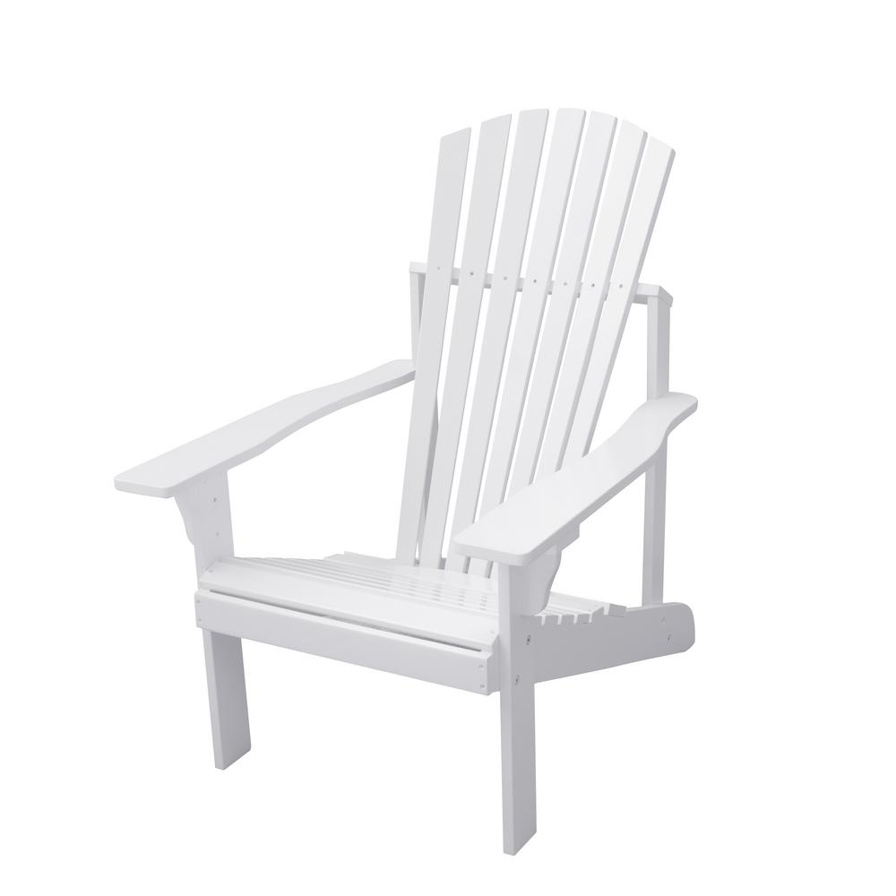 Vifah Bradley White Wood Adirondack Chair V1824 The Home