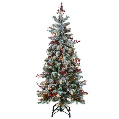 5 ft. Memory-Shape Snowy Freehold Spruce Pencil Slim Artificial Christmas Tree with Multi-Color Lights