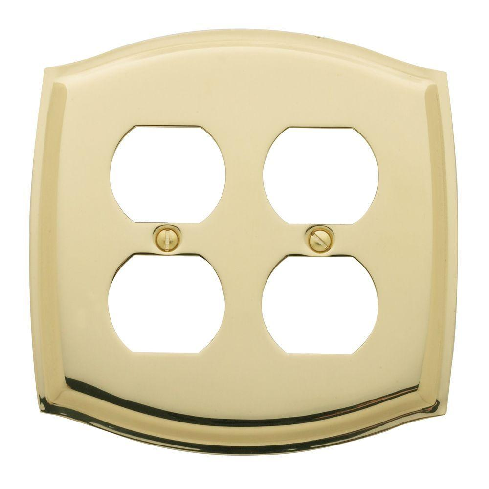 Colonial 2 Gang Wall Plate - Polished Brass