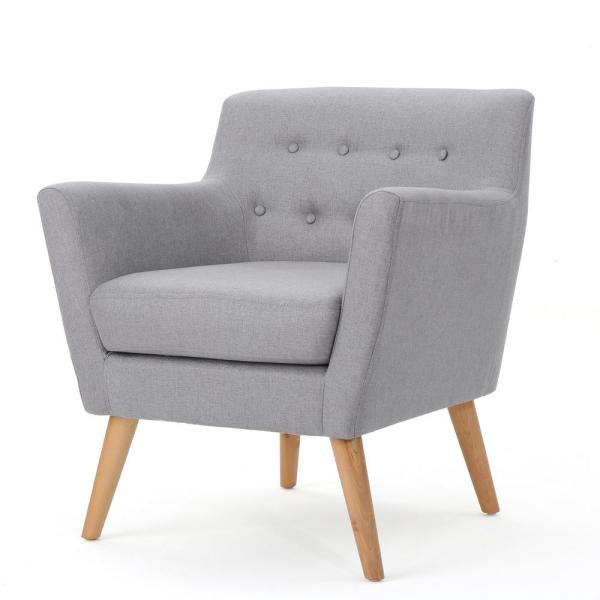 Meena Mid-Century Modern Button Back Light Gray Fabric Club Chair