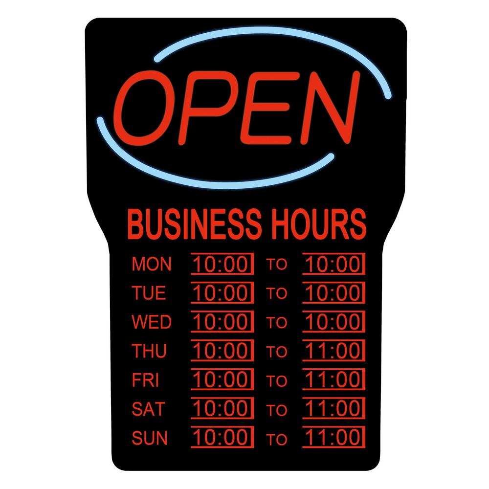 Royal Sovereign 15 in  x 24 in  LED Open Sign with Business Hours