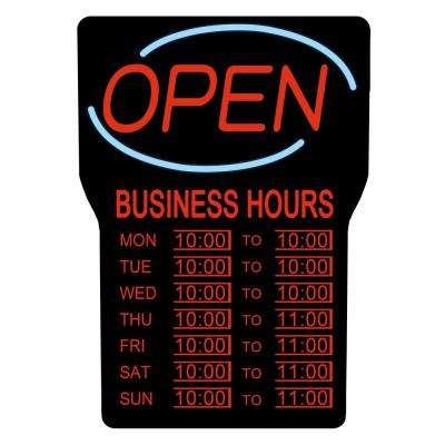 15 in. x 24 in. LED Open Sign with Business Hours