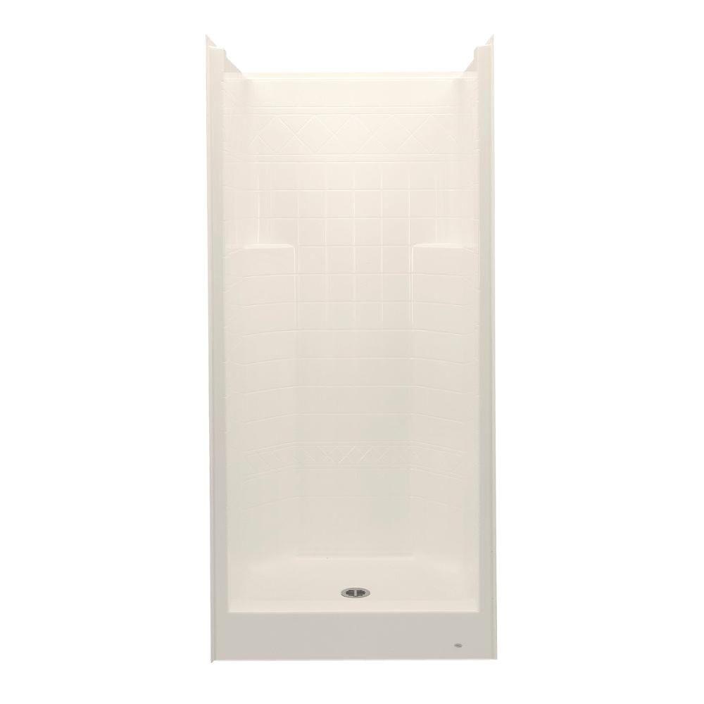 Aquatic Everyday Diagonal Tile 36 in. x 36 in. x 76 in. 1-Piece Shower Stall with Center Drain in Bone