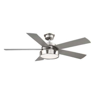 Cherwell 52 in. LED Brushed Nickel Ceiling Fan with Light and Remote Control works with Google and Alexa