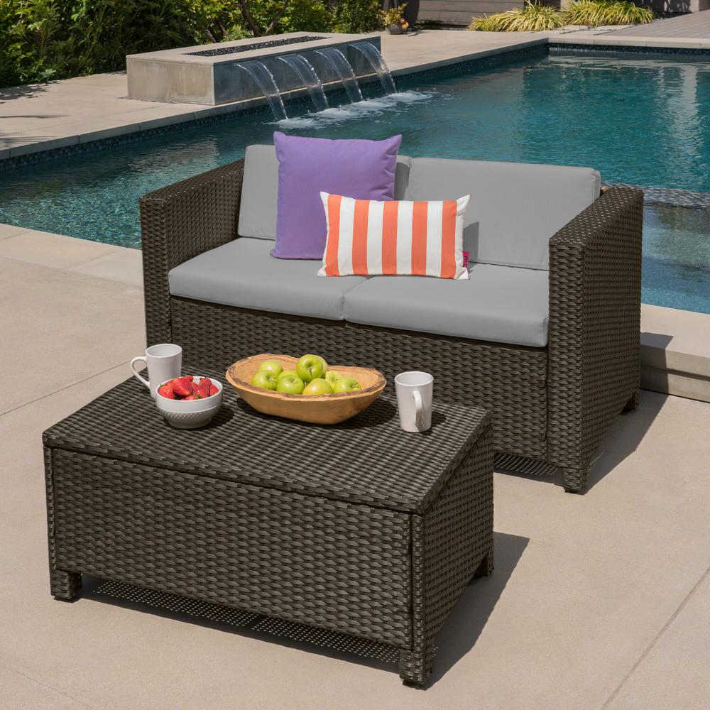 Noble House Maverick Brown 2-Piece Wicker Patio Conversation Set with Ceramic Gray Cushions