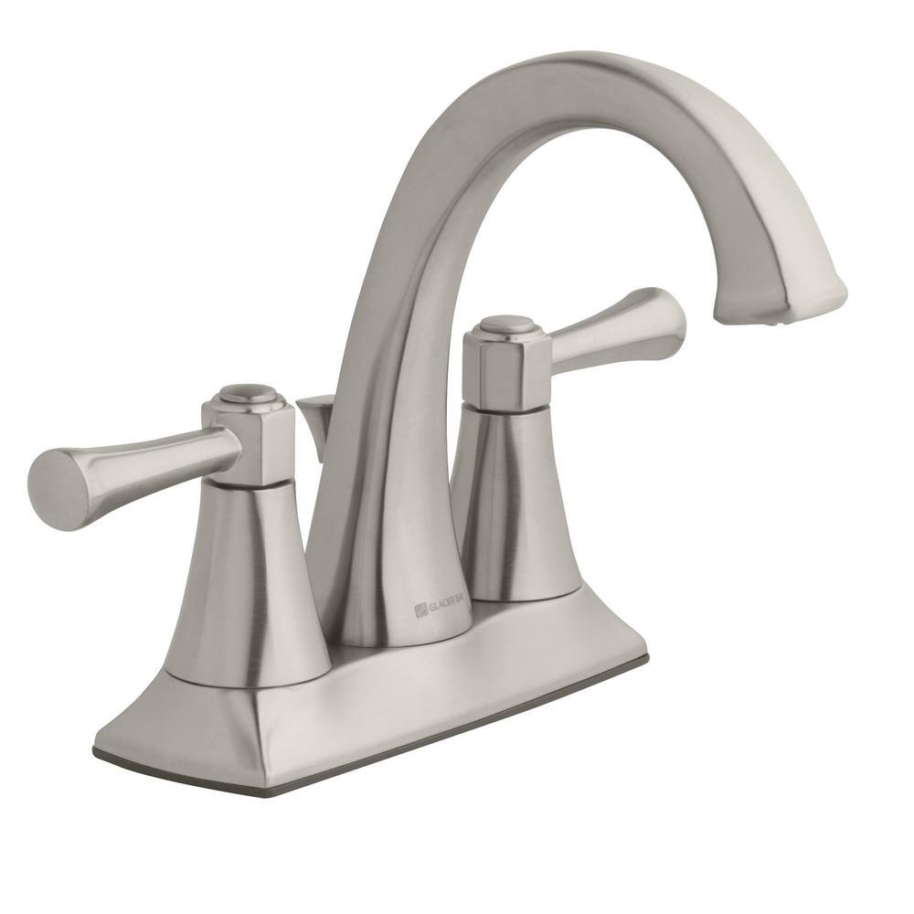 Stillmore 4 in. Centerset 2-Handle High-Arc Bathroom Faucet in Brushed Nickel