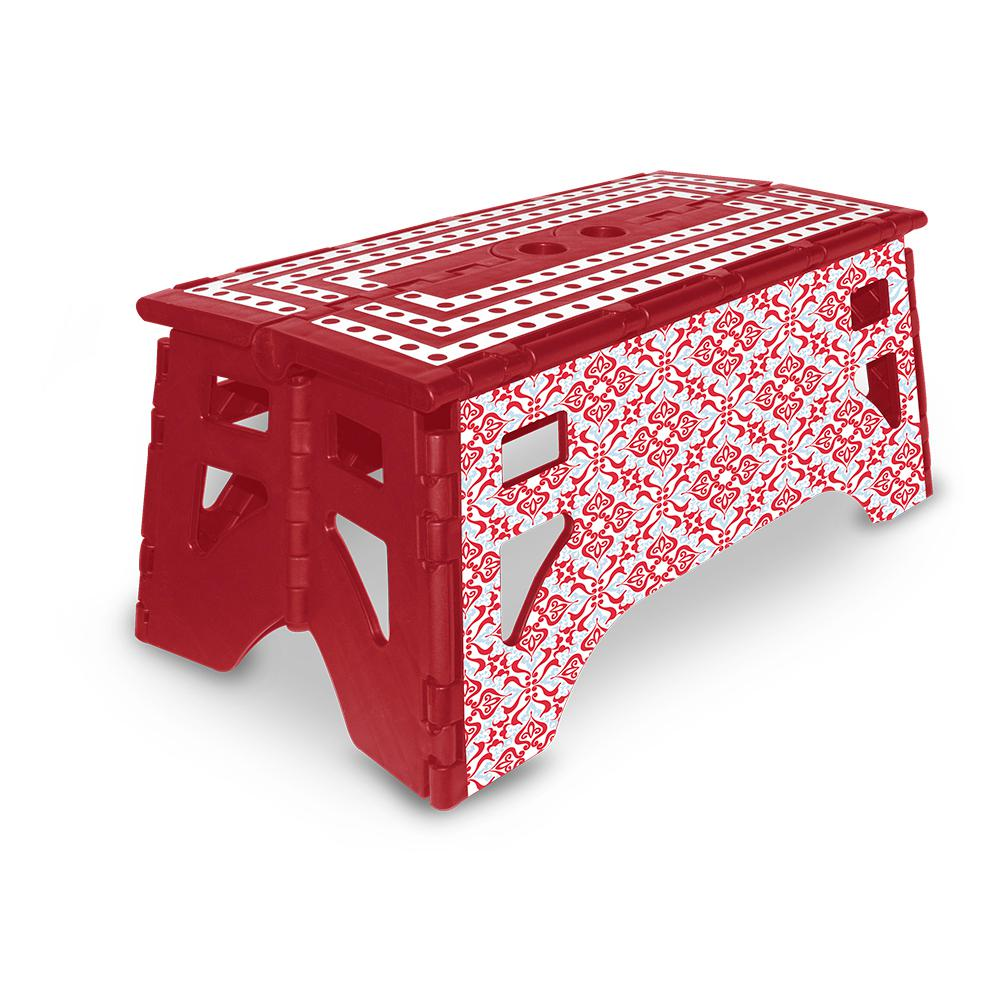 13 in. Plastic Folding Step Stool with 350 lbs. Load Capacity