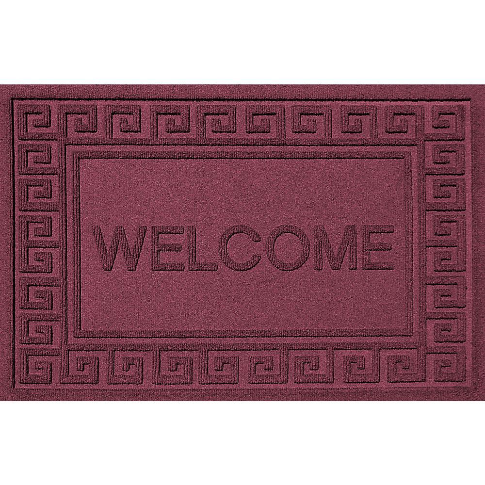 Greek Welcome Bordeaux 24x36 Polypropylene Door Mat