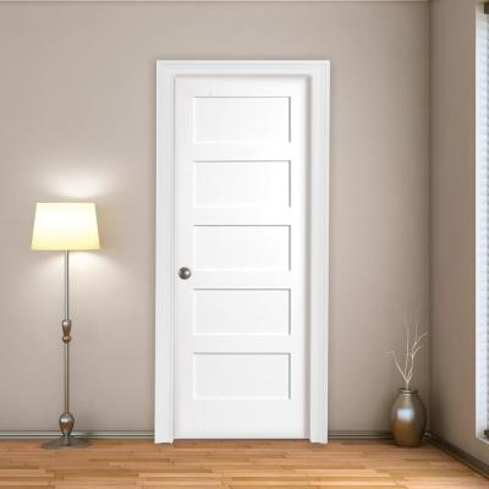 30 in. x 80 in. 5-Panel White Primed Shaker Solid Core Wood Interior Door Slab