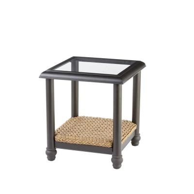 Camden Light Brown Wicker Outdoor Patio Side Table