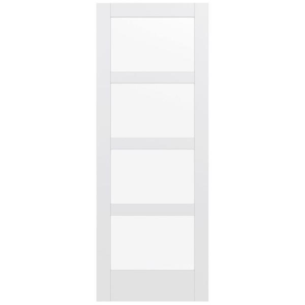 36 in. x 96 in. MODA Primed PMC1044 Solid Core Wood Interior Door Slab w/Clear Glass