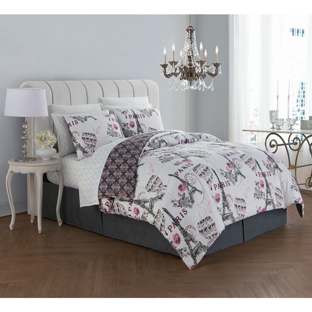 Darcy 8-Piece Blush Queen Bed in a Bag Set