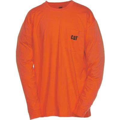 Trademark Men's X-Large Adobe Orange Cotton Long Sleeved Pocket T-Shirt