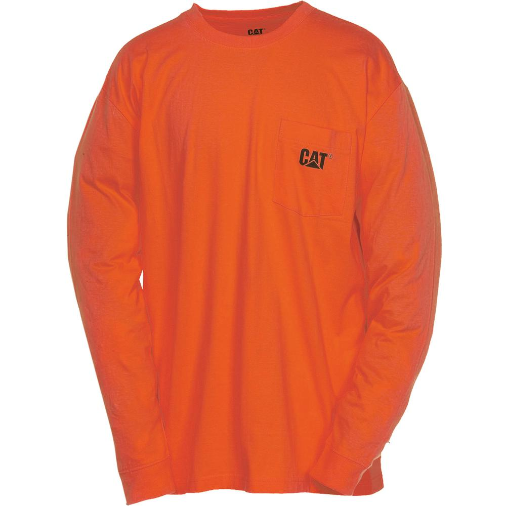 Caterpillar Trademark Men's X-Large Tall Adobe Orange Cotton Long Sleeved Pocket T-Shirt