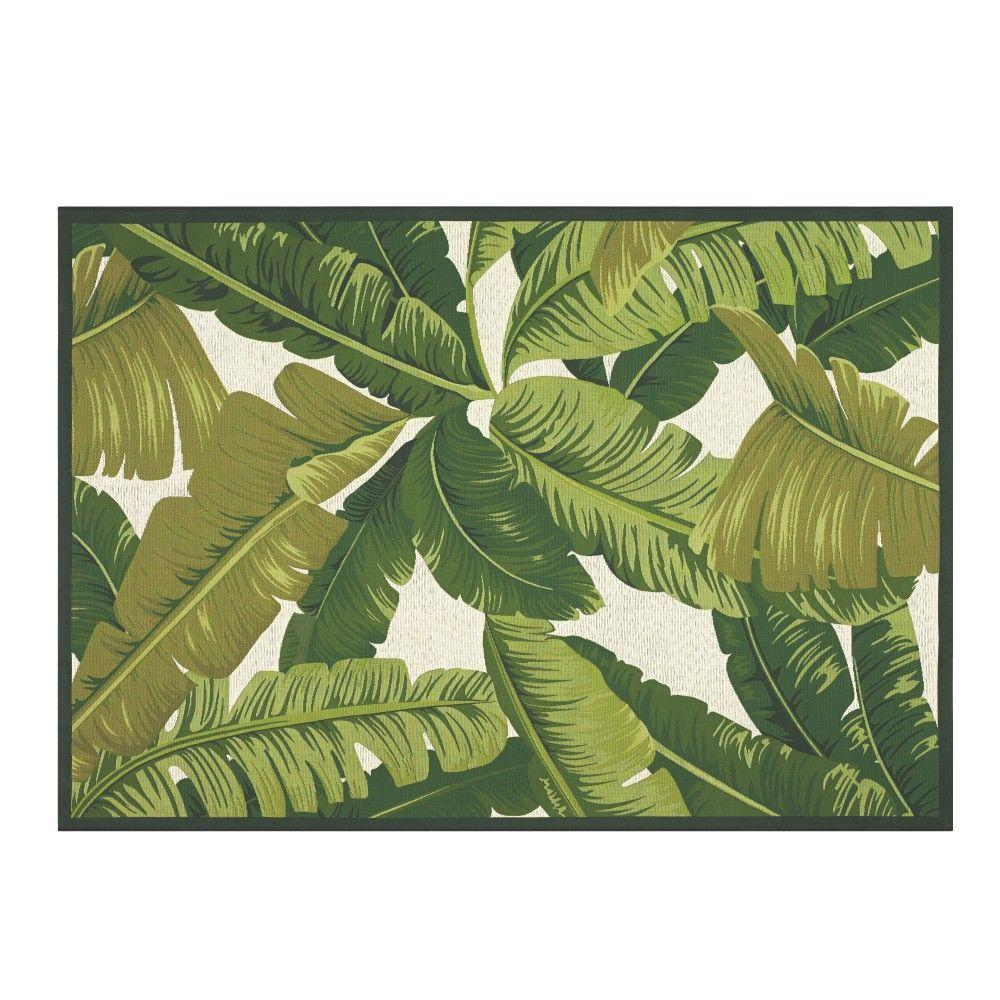 Indoor Outdoor Area Rug Coastal Palm Leaf Carpet Ivory