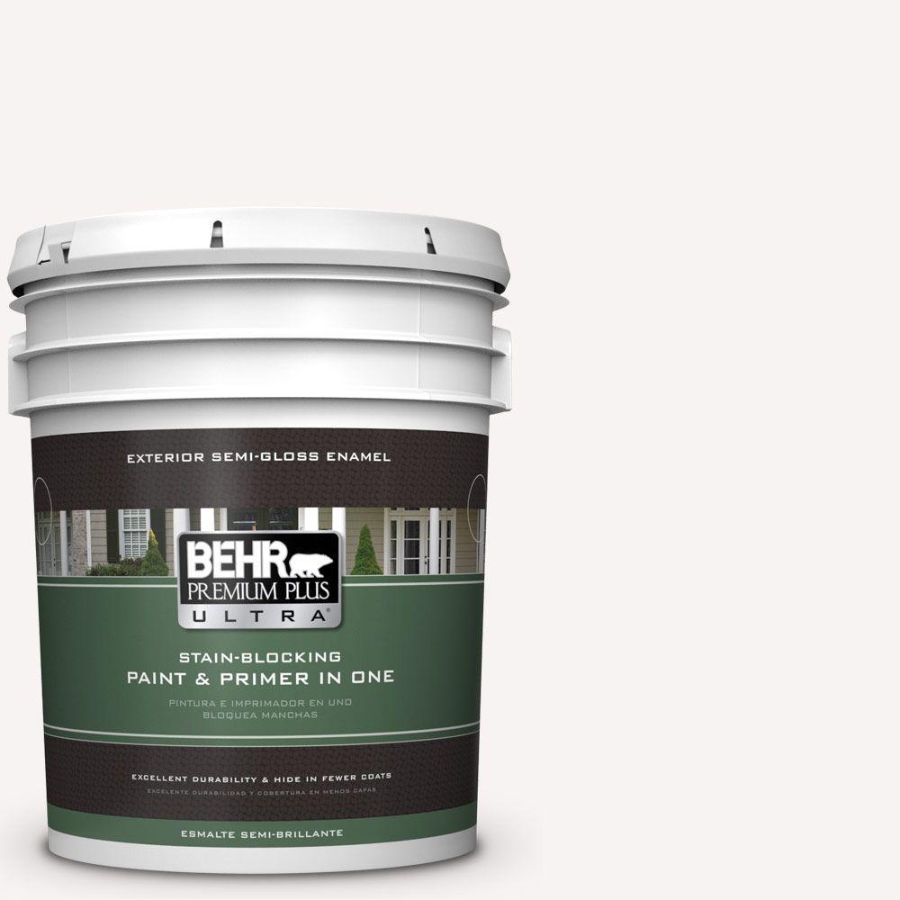 BEHR Premium Plus Ultra 5-gal. #730A-1 Smart White Semi-Gloss Enamel Exterior Paint