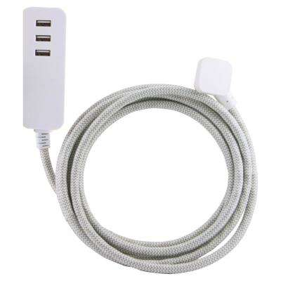 10 ft. 0-Outlet 3-USB Charging Ports 3.4 Amp Decor Extension Cord with Surge Protection, Grey/White