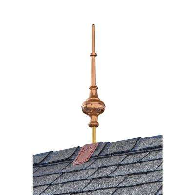 28 in. Morgana Pure Copper Finial with Decorative Copper Roof Mount