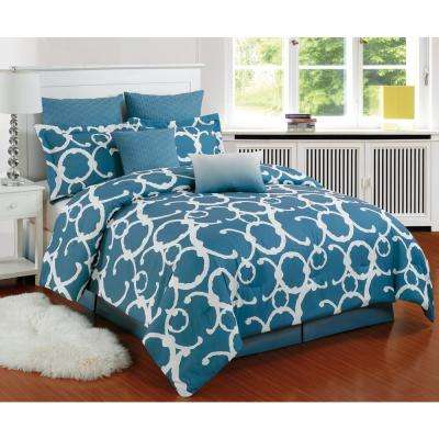 Rhys Slate Blue 8-Piece Queen Comforter Set