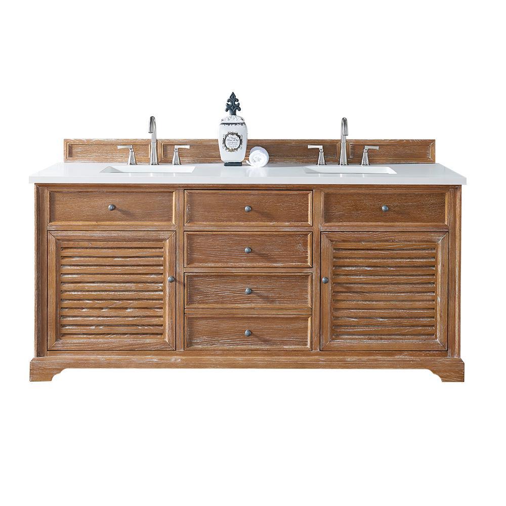 Double Vanity Driftwood Quartz Vanity Top White Basin