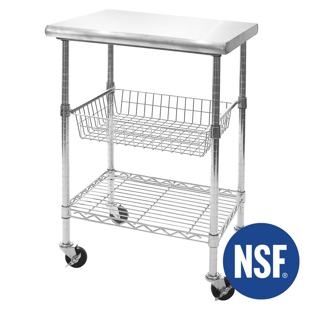 Cocina Kitchen Cart With Stainless Steel Top: Seville Classics Stainless Steel Top Professional Kitchen