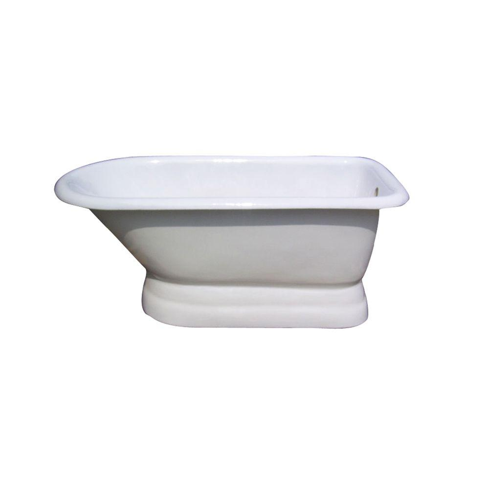 Barclay Products 5 ft. Cast Iron Roll Top Tub with 7 in. Deck Holes on Base, Back Drain in White