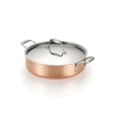 Martellata 5 Qt. Hammered Copper Tri-Ply Casserole with Lid