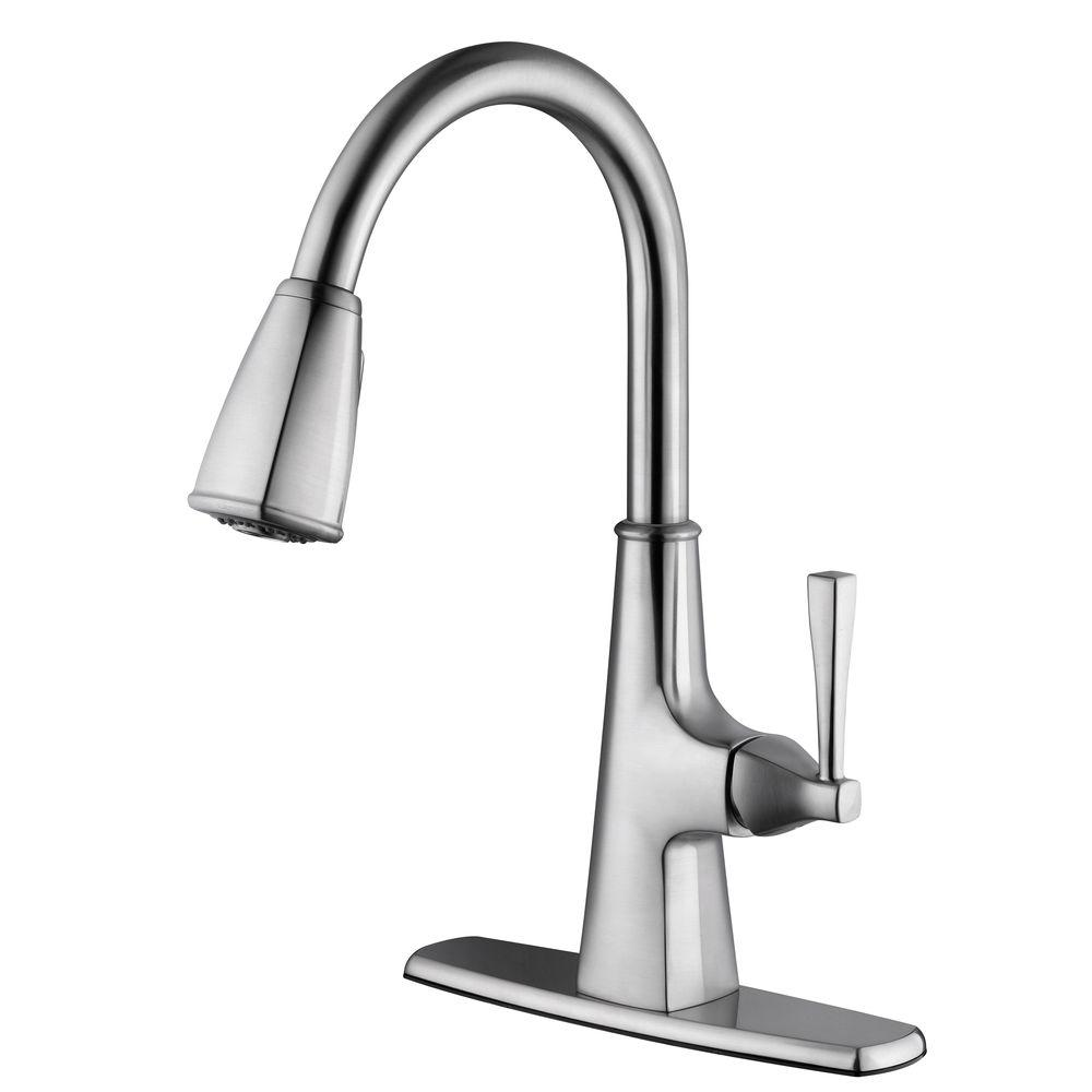 design house perth single handle pull down sprayer kitchen faucet in satin nickel 546986 the. Black Bedroom Furniture Sets. Home Design Ideas