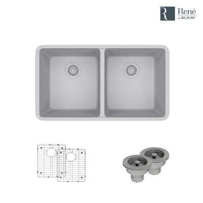 Undermount Composite Granite 32-1/2 in. Double Bowl Kitchen Sink in Pewter