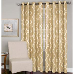 Semi-Opaque Medalia Toasted Wheat Grommet Top Window Curtain Panel - 52 inch W x 120 inch L by