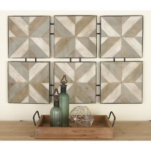 Rustic Brown Wooden and Metal Herringbone Panel Wall Decor by
