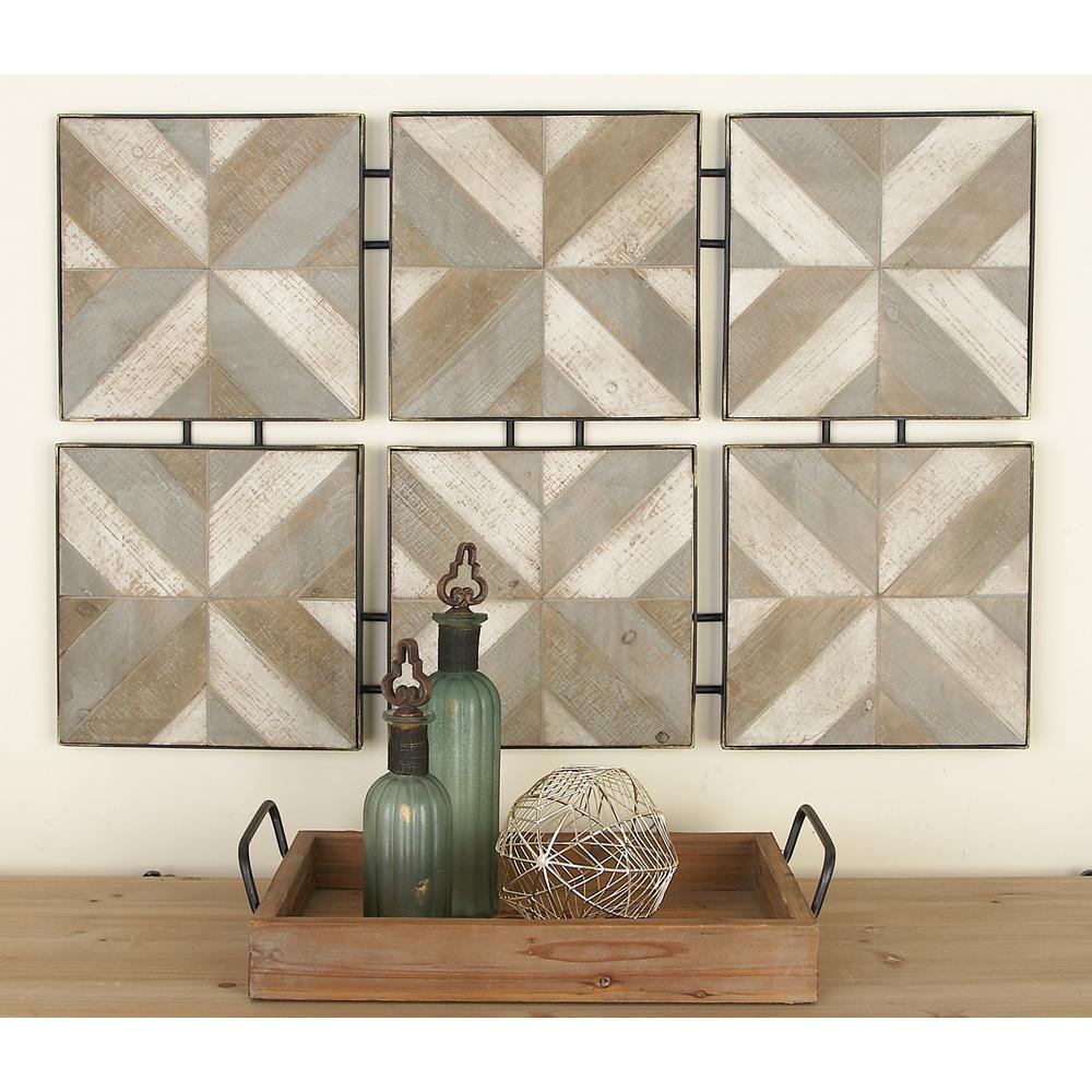 Litton Lane Rustic Brown Wooden And Metal Herringbone Panel Wall