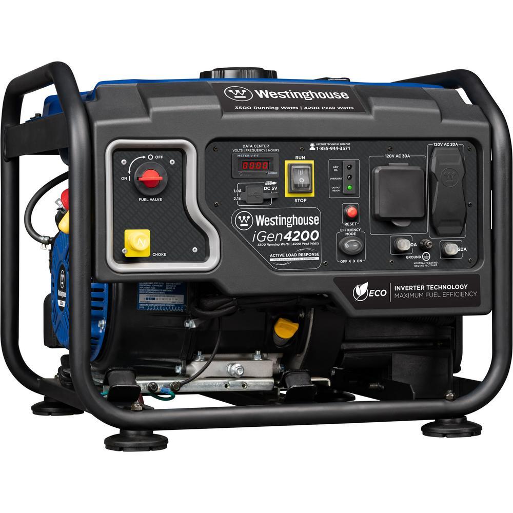 iGen4200 4,200/3,500-Watt Gasoline Powered Hybrid Open Frame Portable Inverter Generator with RV-Ready TT-30R Outlet