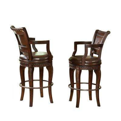 Antoinette 47 in. Cherry Swivel Bar Chairs (Set of 2)
